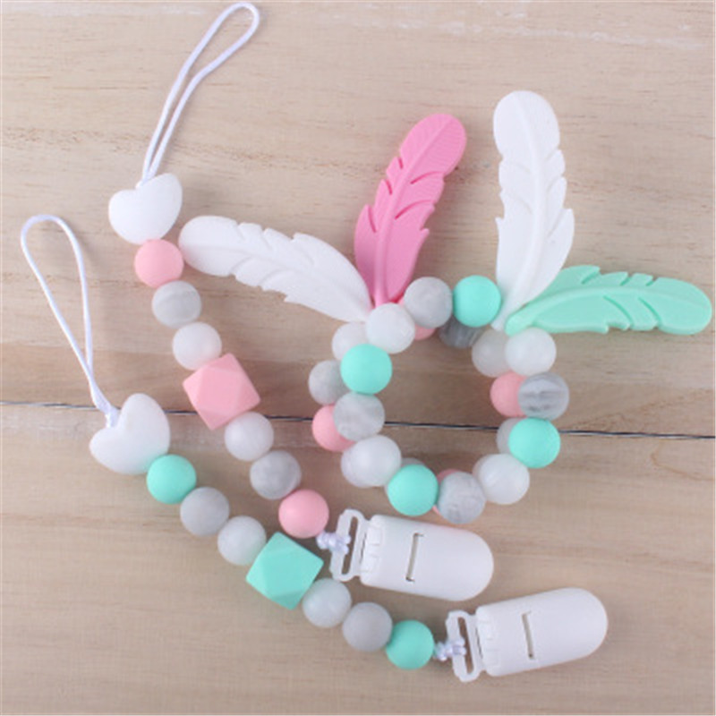 Baby Woode Teether Bracelet Food Cartoon Feather Bead Chews Nurse Pacifier Clip Holder Silicone Pacifier Chains Teether Toy Gift
