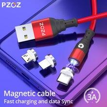 PZOZ Micro USB Tipo de Cabo C Ímã Magnético Carregamento Rápido Carregador Microusb USB C Typec Para o iphone X Xs Móvel cabos de Dados do telefone