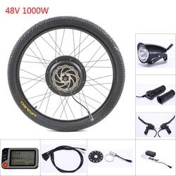 Zestawy rowerowe elektryczne akcesoria rowerowe 1000w koło silnikowe 48V 1000W zestaw do konwersji roweru na elektryczny koła dla 20 29 w Zestaw do konwersji    -