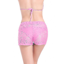 Summer Women Lace Floral Swimming Shorts Underwear Bottom Swimwear Bikini Boxers For Female (not include bra)