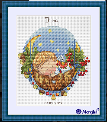 GG Gold Collection Counted Cross Stitch Kit Cross stitch RS cotton with cross stitch <font><b>Merejka</b></font> K-22 Moon Lullaby (boy) image