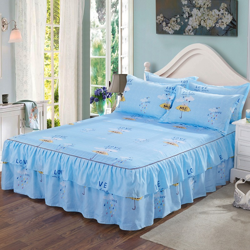 Three-piece Set Princess Skirt Brushed Single Layer Edge Mattress Skirt + 2 A Pillow Case Simmons Protective Cover Case Bedding