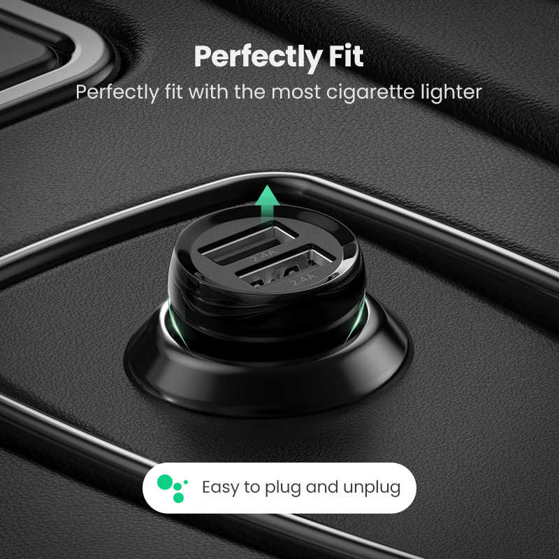Ugreen MINI 4.8A USB Car Chargerสำหรับโทรศัพท์มือถือแท็บเล็ตGPS Fast Chargerรถชาร์จDual USBรถอะแดปเตอร์ชาร์จรถ