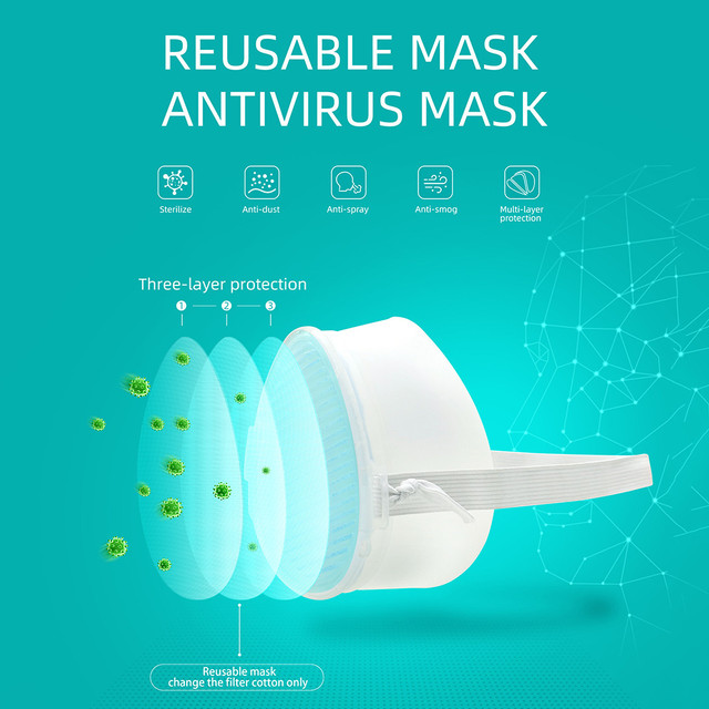 #H40 Electric Mask Respirator Air Purifying Dustproof Mask Haze PM2.5 Face Mouth Mask Care Mouth-muffle bacteria proof Flu