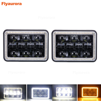2X Rectangle 4x6 Inch LED Headlights H4 Plug H4651 H4652 H4656 H4666 H6545 Projector for Peterbil Kenworth Freightinger Headlamp