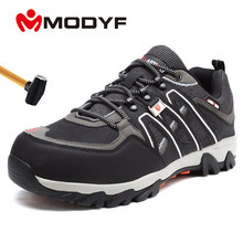 MODYF Men's Steel Toe Work Safety Shoes Lightweight Breathable Anti-smashing Anti-puncture Non-slip Reflective Casual Sneaker(China)