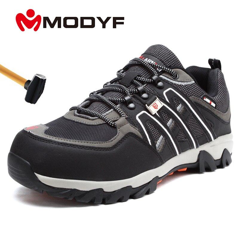 Sapatos de Segurança de Trabalho de Aço Modyf Masculino Leve Respirável Anti-esmagamento Anti-punctura Antiderrapante Reflexivo Casual Sneaker Mod. 165832