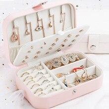 Boîte à bijoux stockage boucle d'oreille ins créatif en cuir Portable multi-couche maquillage boîte PU montre boîte porte-collier femmes cadeaux nouvellement