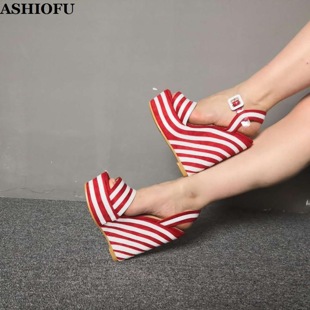 ASHIOFU New Arrival Ladies Wadge Heel Sandals Striped Sexy PVC Buckle Strap Party Shoes Club Evening Fashion Sandals Shoes
