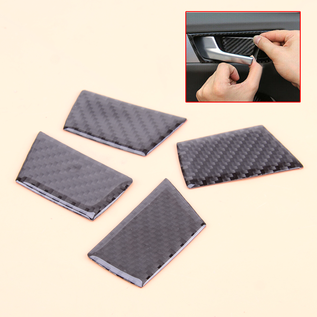 4Pcs Carbon Fiber Interior Auto Door Handle Bowl Cover Set Fit For Audi A4 B8 Q5 A5 2010 2011 2012 2013 2014 2015 image
