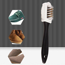 Shoe cleaner 1 pcs new black 3-sided cleaning brush for nubuck S-shaped suede boots shoes shoe wholesale