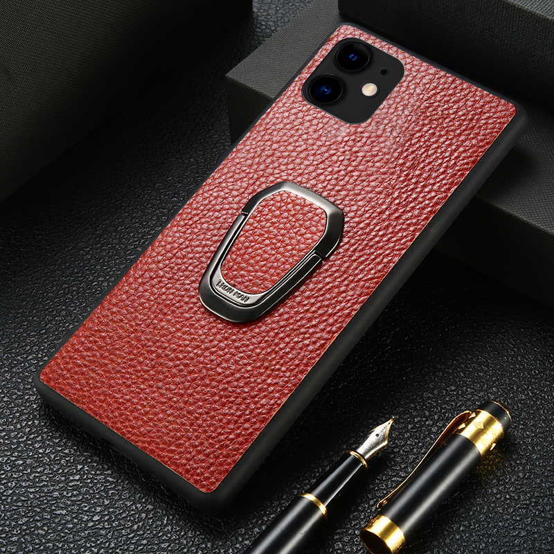 <font><b>Original</b></font> Litchi Grain Leather Phone <font><b>Case</b></font> for <font><b>iPhone</b></font> 11 Pro 11 Pro Max X XS Max XR 7 <font><b>8</b></font> Plus 6 6s 7 Plus Magnetic Kickstand Cover image
