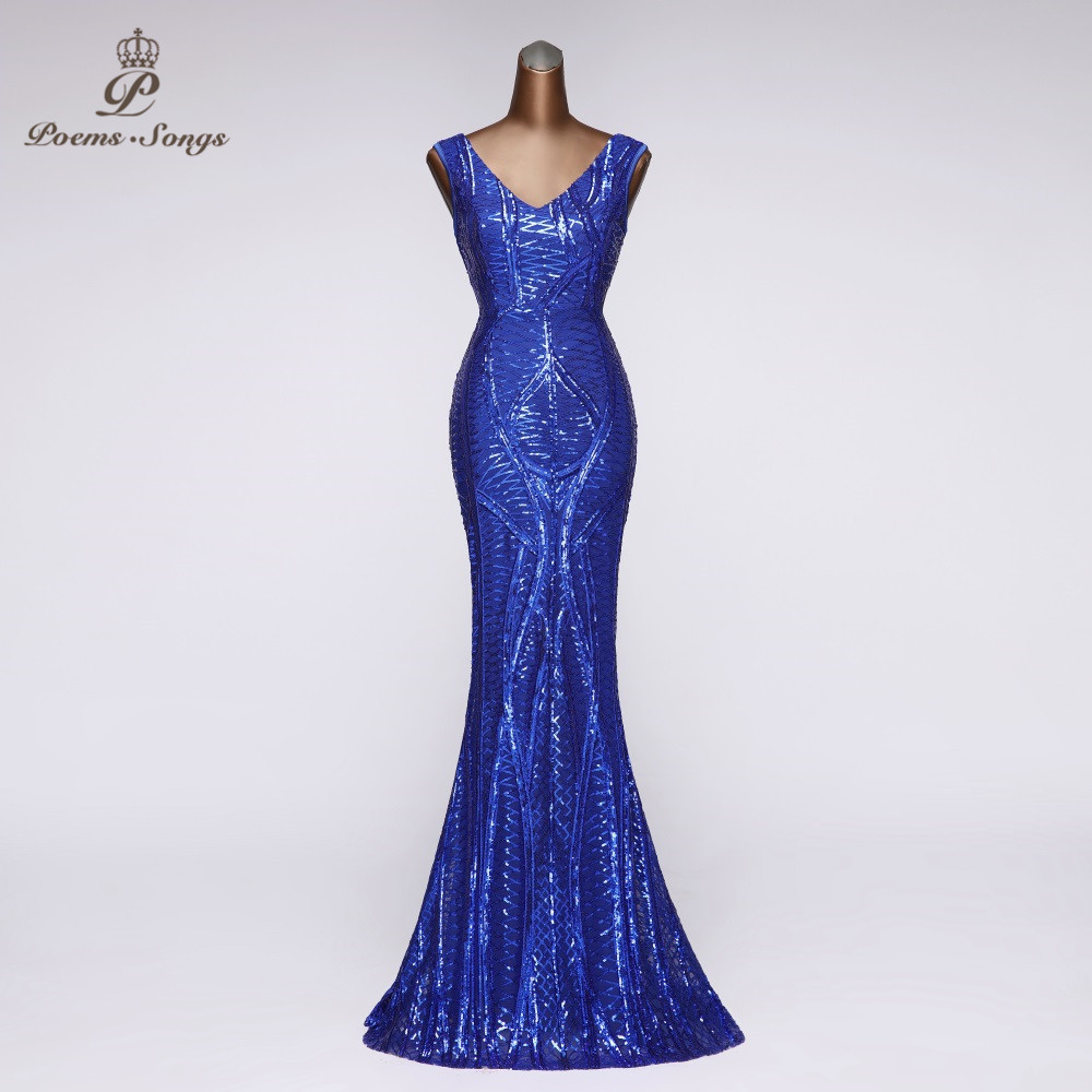 Beautiful Evening Dress Party V-NECK Evening Gown For Women Formal Dress Women Elegant Sleeveless Vestidos Largos Sequin Gown