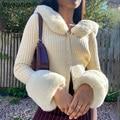 WannaThis Gestrickte Strickjacken Pullover Frauen Langarm Haarigen Winter Tops Dünne Beiläufige Baumwolle Streetwear Pullover Taste Top Weiche
