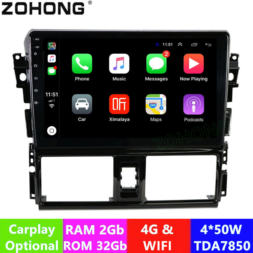 "2.5D 10.2"" 4G 2+32Gb Android 9.0 car Multimedia DVD player for Toyota Vios Yaris 2013 2014 2015 2016 CAR GPS navigation Radio-in Car Multimedia Player from Automobiles & Motorcycles"