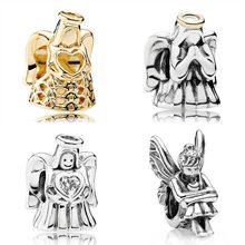 Petites perles en argent Sterling 925, couleur or, ange d'amour et de grâce, breloque Pixie, fée, compatible avec Bracelet européen