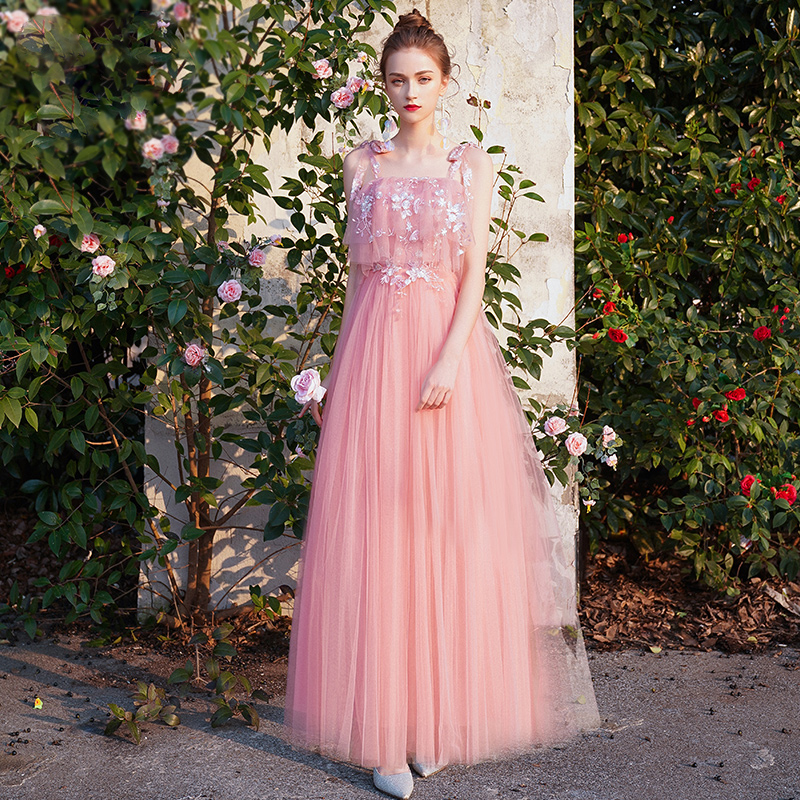 Bridesmaid Dresses Embroidery Crepe Wedding Guest Dress V-Neck Full Sleeve Vestidos Strapless Ankle-Length Formal Gowns R068