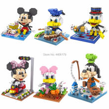 цена на hot lepining creators Mouse dog animal duck micky Goofy Donald Duck Minnie micro diamond building blocks model bricks toys gift