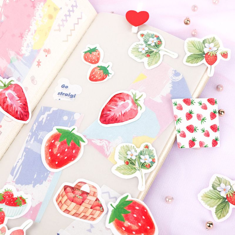 45Pcs/Lot Fruit Pink Strawberry Decoration Paper Sticker DIY Album Diary Scrapbooking Label Sticker