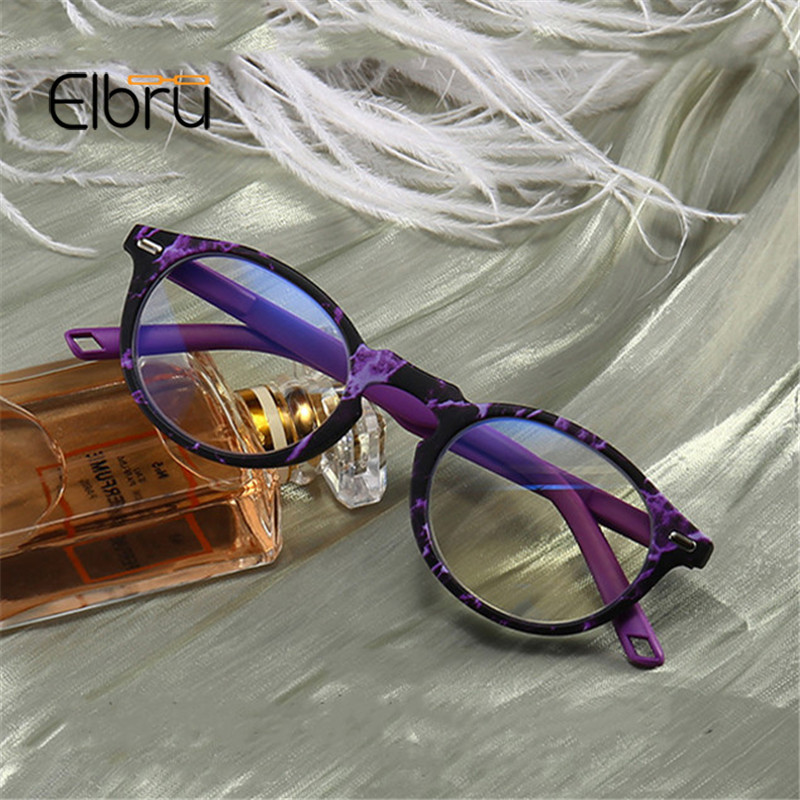 Elbru Anti-blue Light Reading Glasses Marble Unisex Round Frame Presbyopic Eyeglasses Diopter +1.0 +1.5 +2.0 +2.5 +3.0 +3.5 +4.0