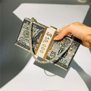 Money Clutch Rhinestone Purse 10000 Dollars Stack of Cash Evening Handbags Shoulder Bag