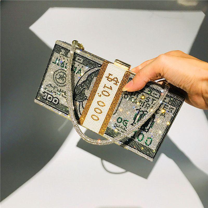 Geld Clutch Rhinestone Purse 10000 Dollar Stapel Cash Avond Handtassen Schouder Bruiloft Diner Bag 8 Kleur