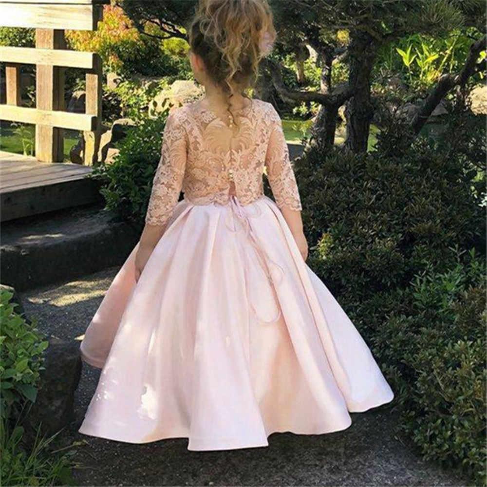 Атласное платье с цветочным узором для девочек; платье с длинными рукавами для свадебной вечеринки; кружевное вечернее платье принцессы с аппликацией для первого причастия