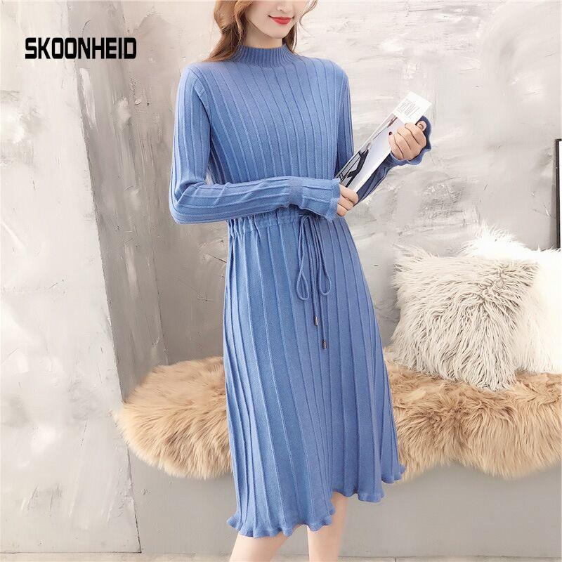 SINGRAIN Winter Women Pleated Knitted Dress Elegant Solid Turtleneck Dress Long Sleeves Knitting Dress Striped Sweater Dress 53