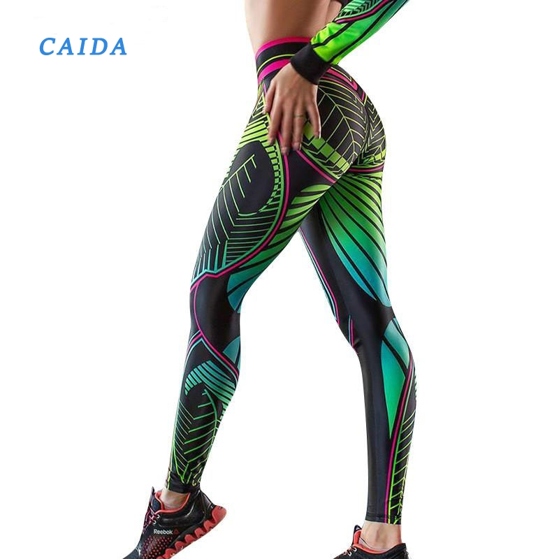CAIDA  Women Printed Leggings High Waist Push Up Women Fitness High Elastic WorkoutLegging Breathable Leggins Female