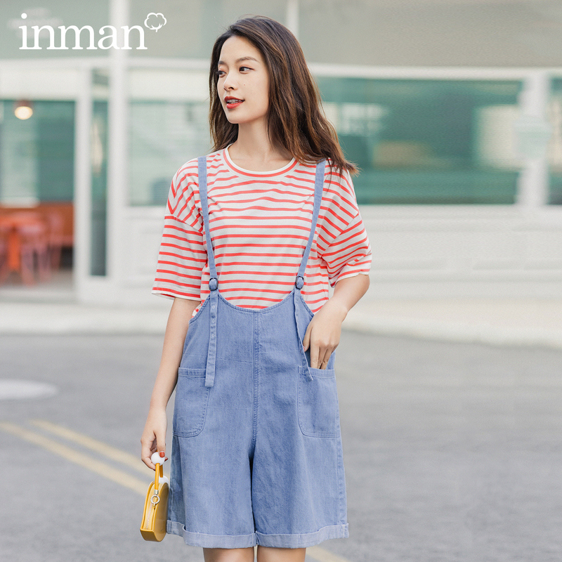 INMAN 2020 Summer New Arrival Pure And Fresh Short Sleeve T-shirt Youth Nifty Energetic Stripe Suspender Trousres Suit