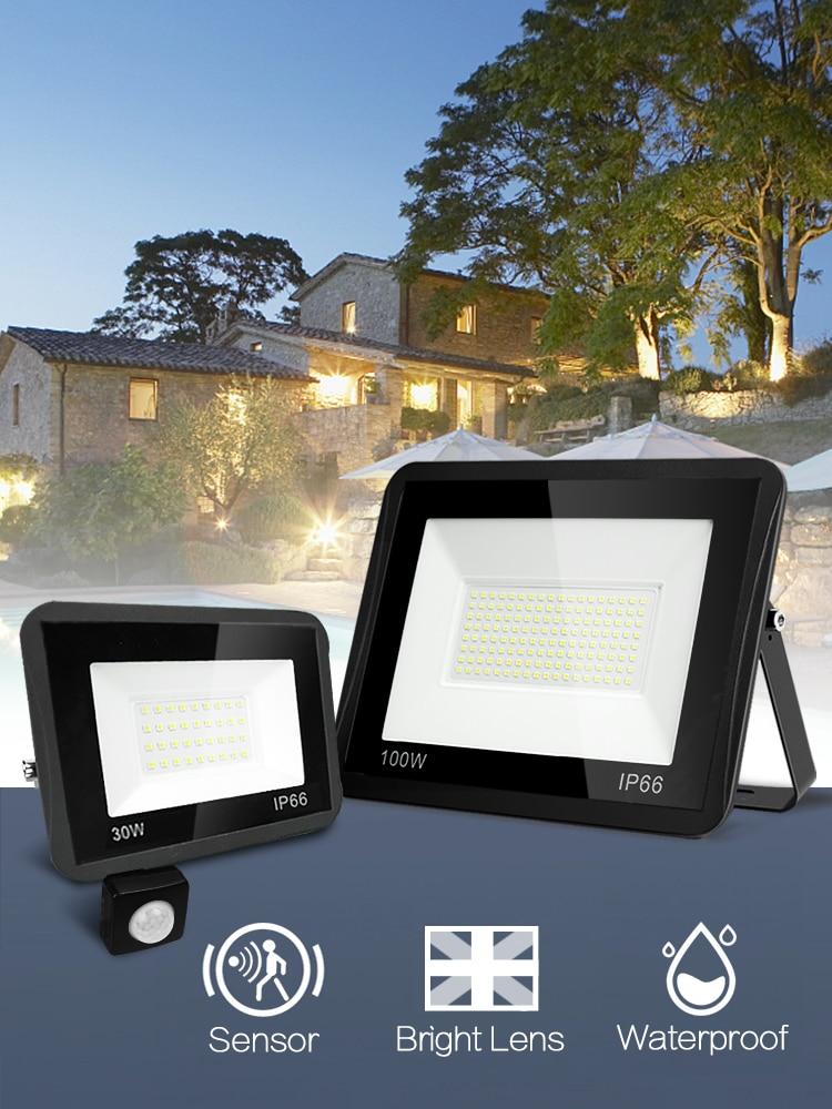 Flood-Light Led-Reflector House Motion-Sensor Exterior IP65 Waterproof 220V 100W 50W