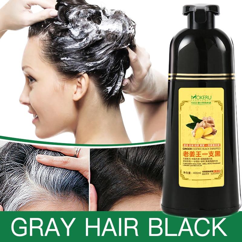 Mokeru 1pc  Ginger Shampoo Herbal Non Allergic Natural Fast Blacking Gray Hair Dye Black Shampoo Dye For White Hair Coloring