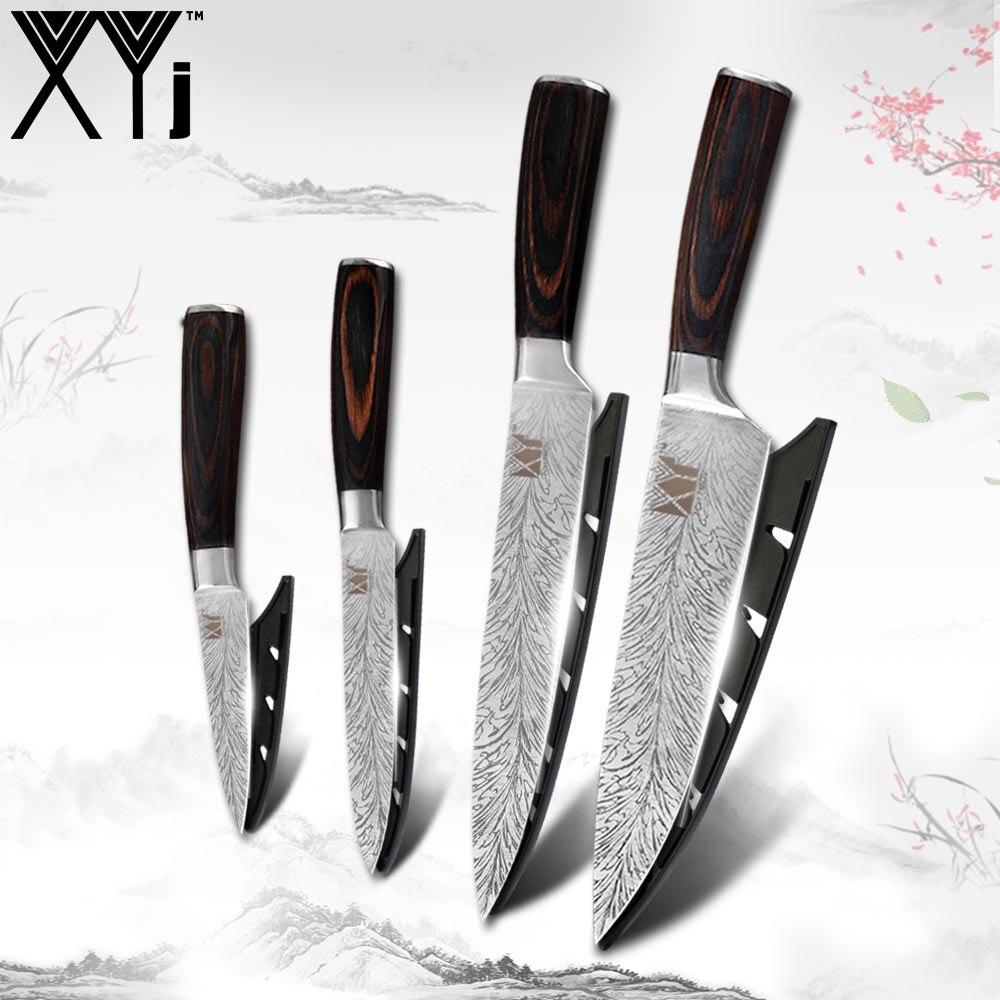 Juego de cuchillos de Chef XYj, cuchillo de salmón de acero inoxidable, cuchillo multifunción para cortar carne y verduras, cubertería para cortar frutas
