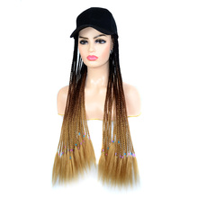 jeedou Synthetic Long Hair Twist Braids Wig with Baseball Hat Black Brown Ombre Color Baseball Cap Black Hat for Women