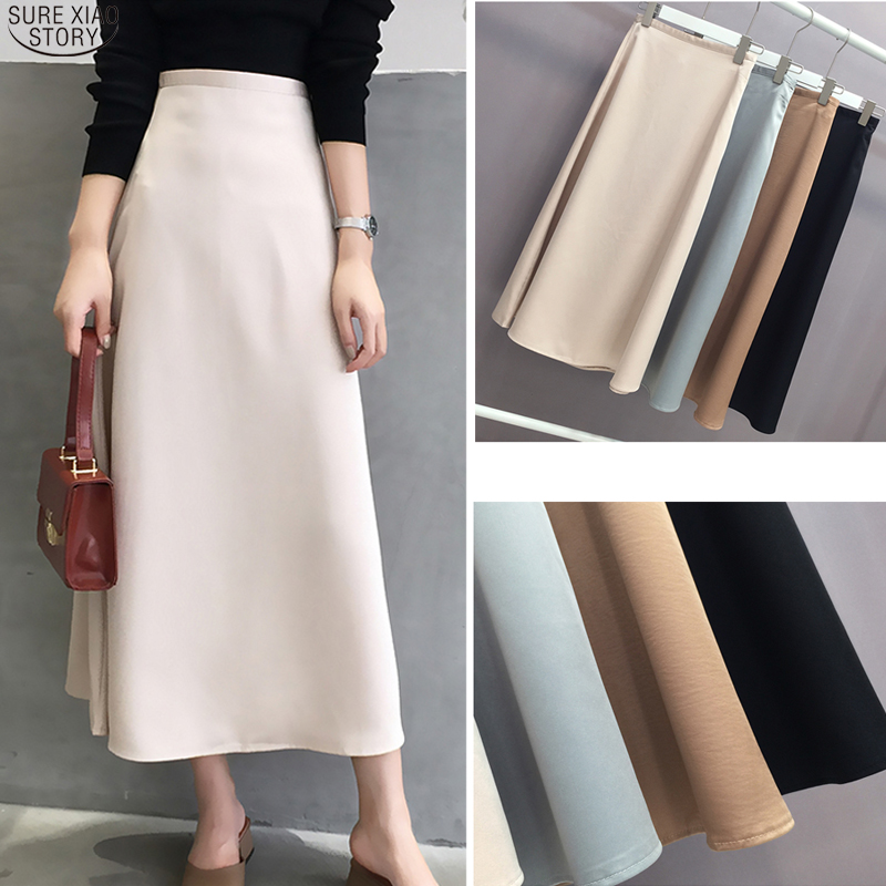 2020 New Spring Summer Solid Silk Skirts Womens A-line Satin Midi Skirt Vintage High Waist Black Zipper Skirts Jupe Falda 9645