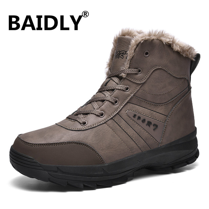 Boots Men Trekking-Shoes Outdoor Winter Lining New Plush for Warm Big-Size Anti-Slip