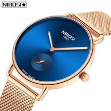 Relogio Feminin 2019 NIBOSI Women Watches Top Brand Luxury Dress Quartz Watches Business Ultra Thin Mesh Belt Women Wristwatches цена и фото