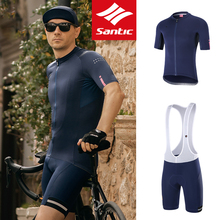 Santic Men Cycling Jersey Short Sleeve Jreseys Anit-Sweat Bicycle Clothing Breathable Bike Shirt Road MTB T-shirts Cycling Sets
