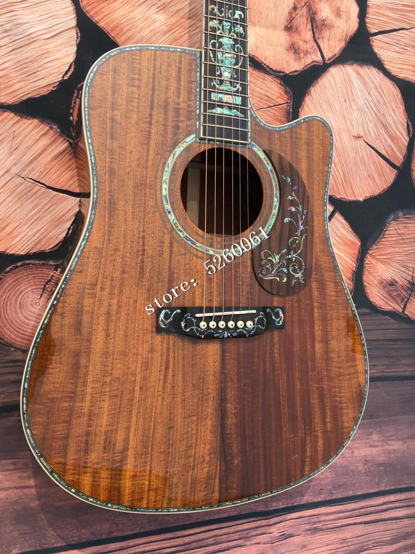 High quality OEM Cutaway koa acoustic acoustic guitar +41 inch + ebony fingerboard + real luxury abalone shell inlay +Free shipp