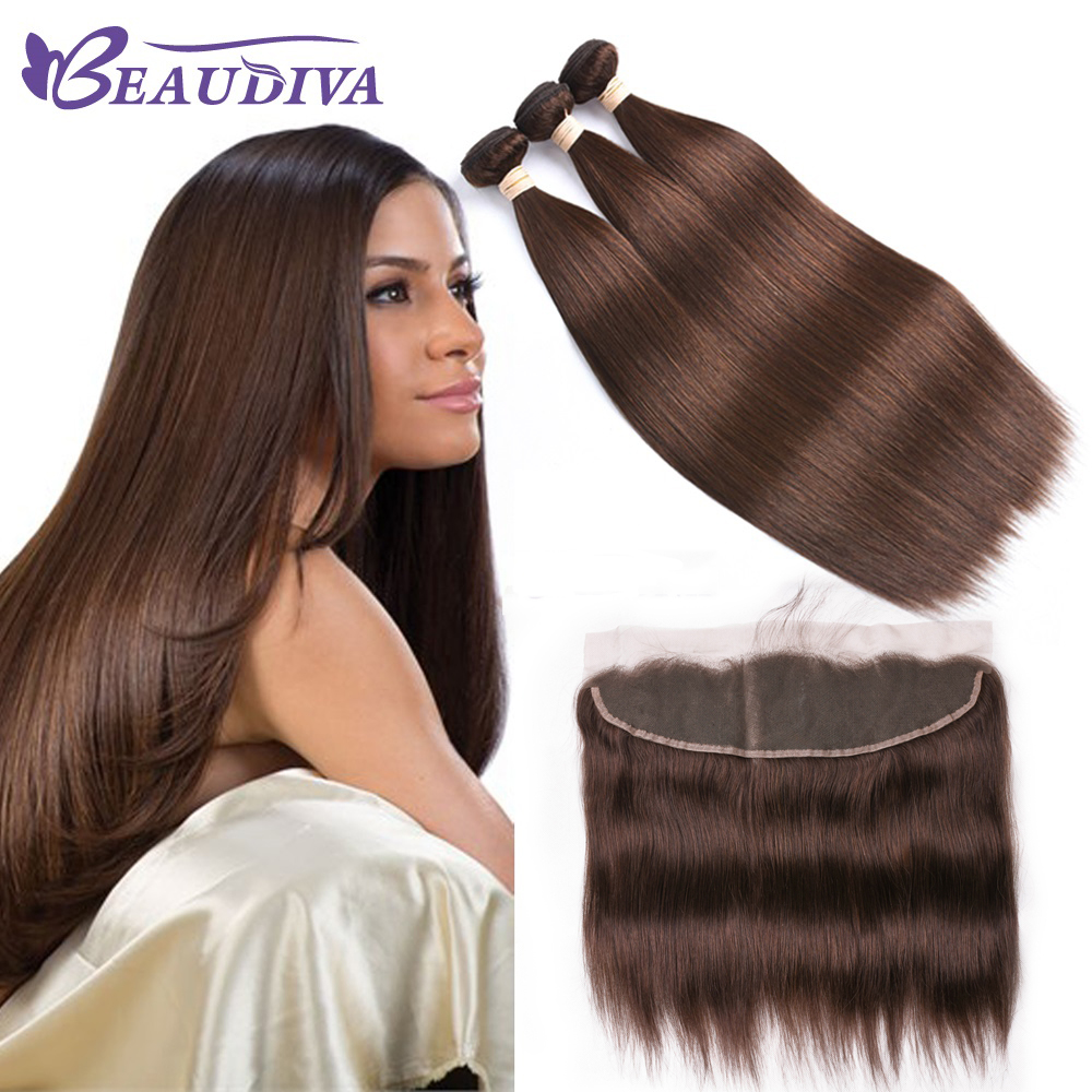 Beaudiva Ear to Ear Lace Frontal Closure 13X4 Free Part With 3 Pcs #4 Color Brazilian Straight Remy Hair Bundles 1