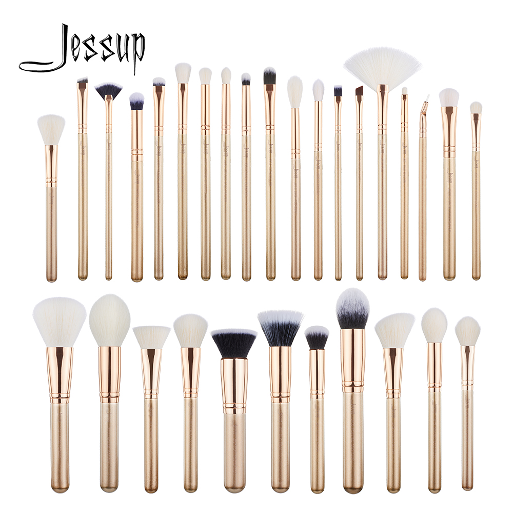 Jessup escovas 30 pçs ouro/rosa de ouro profissional maquiagem escovas conjunto ferramentas beleza compõem escova pó fundação sombra
