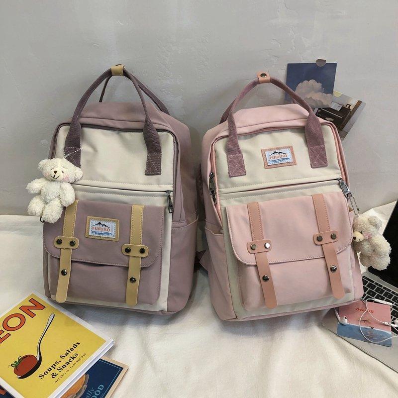 Japan Korea Backpack Women Large Capacity School Backpack Tote Rucksack for Girls Fashion Patchwork Panelled Laptop Travel Bags