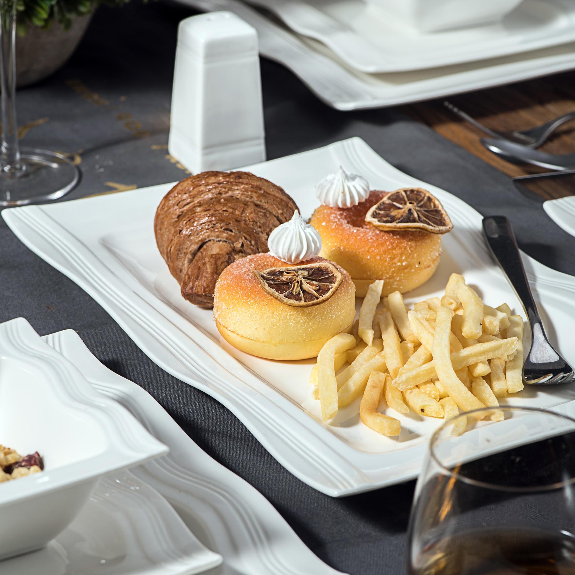 MALACASA Series Mario 28-Piece Porcelain Dinnerware with 6*Bowl Dessert Soup Dinner Plate 2*Salt Shaker Set 2 Rectangular Plate
