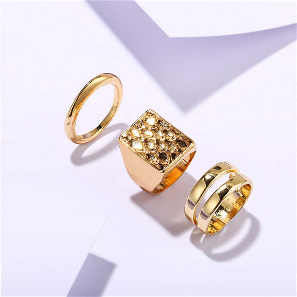 17KM Fashion Gold Pearl Adjustable Rings For Women Square Round Antique Ring Hot Fashion Women's Rings Jewelry