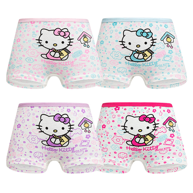 4 Pieces/Lot 2-12Y Children Underwear High Quality Cotton Girls Panties Cute Cat Pattern Kids Boxer Briefs Child Soft Girl Pants