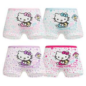 4 Pieces/Lot 2-12Y Children Underwear High Quality Cotton Girls Panties Cute Cat Pattern Kids Boxer Briefs Child Soft girl Pants