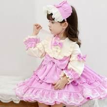 Meninas de manga longa do vintage lolita princesa vestido bebê menina ano novo festa natal vestidos infantis vestidos espanhóis