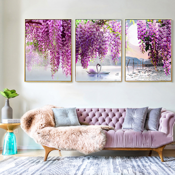 Canvas Painting Purple Flower Tree Swan Lake Landscape Picture Scandinavian Scenery Nature Canvas Wall Art Print Painting image