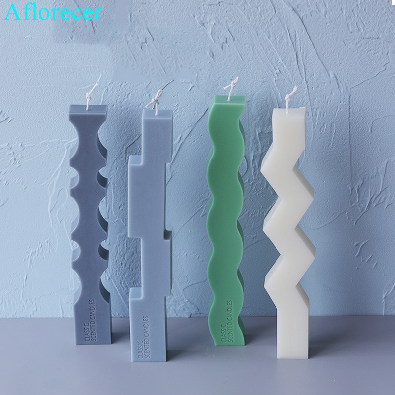 Speical Shaped Strip Candle Silicone Mould European Simple Candle Molds Christmas Home Decoration Candle Moulds