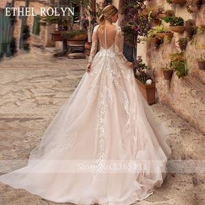 Image 2 - ETHEL ROLYN Romantische A Line Hochzeit Kleider Lange Hülse Taste Illusion Appliques Vestido De Noiva Robe De Mariee Braut Kleid